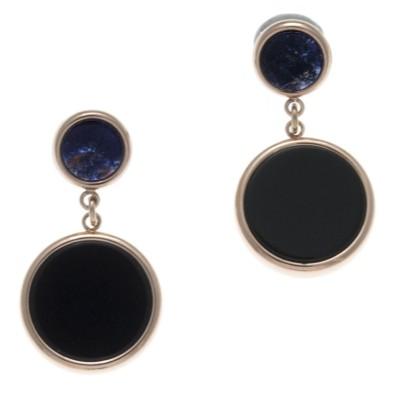 Boucles d'oreille femme: Acier rose, Amazonite & Sodalite bleue - Lyn&Or Bijoux