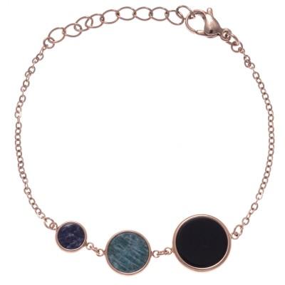 Bracelet femme en acier rose: Onyx noir, amazonite & Sodalite - Lyn&Or Bijoux