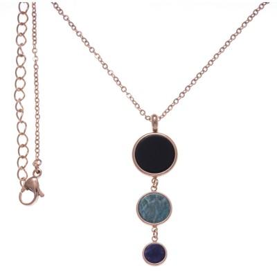 Collier Onyx, amazonite, Sodalite & acier rose, femme