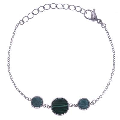 Bracelet acier, malachite & amazonite pour femme