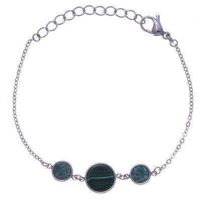 Bracelet femme en pierre naturelle: Acier, Malachite & Amazonite - Lyn&Or Bijoux