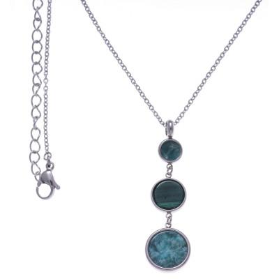Collier femme en acier, pendentif en Malachite & Amazonite - Lyn&Or Bijoux