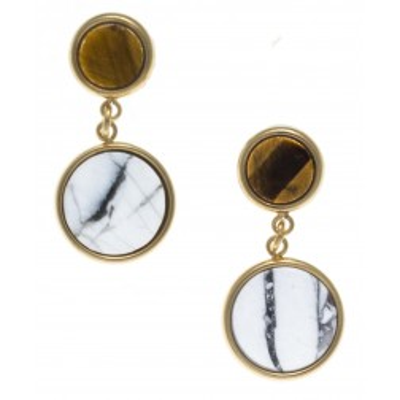 Boucles d'oreille femme: Acier doré, Howlite blanche & oeil de tigre - Lyn&Or Bijoux