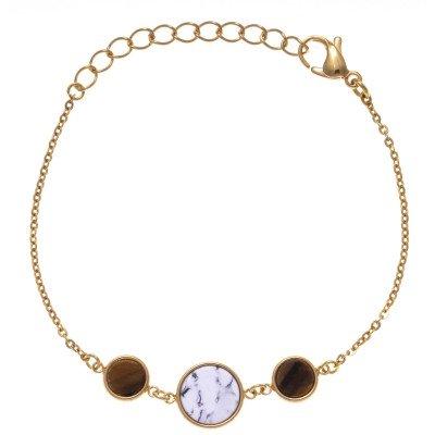 Bracelet femme en acier doré, Howlite blanche & oeil de tigre - Lyn&Or Bijoux