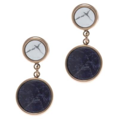 Boucles d'oreille femme: Acier rose, Sodalite & Howlite blanche - Lyn&Or Bijoux