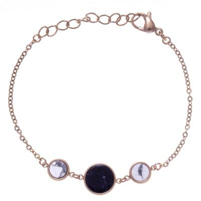 Bracelet femme en acier rose, Sodalite bleue et Howlite blanche - Lyn&Or Bijoux