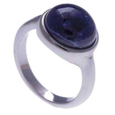 Bague femme + cabochon en pierre naturelle: Acier & Sodalite bleue - Lyn&Or Bijoux