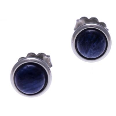 Boucles d'oreille femme, clou acier & cabochon Sodalite bleue - Lyn&Or Bijoux