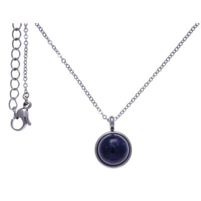 Collier cabochon en pierre naturelle pour femme : Acier & Sodalite bleue - Lyn&Or Bijoux