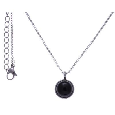 Collier cabochon acier femme, pierres fines,Onyx noir