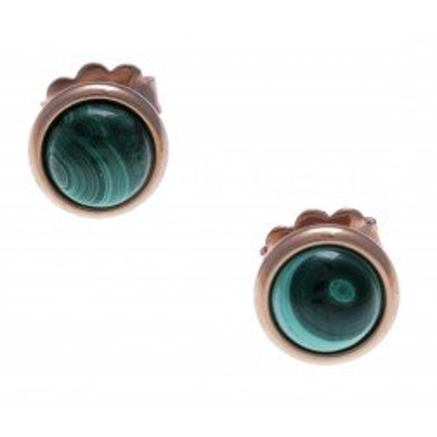 Boucles d'oreille femme, clou acier rose & cabochon Malachite - Lyn&Or Bijoux