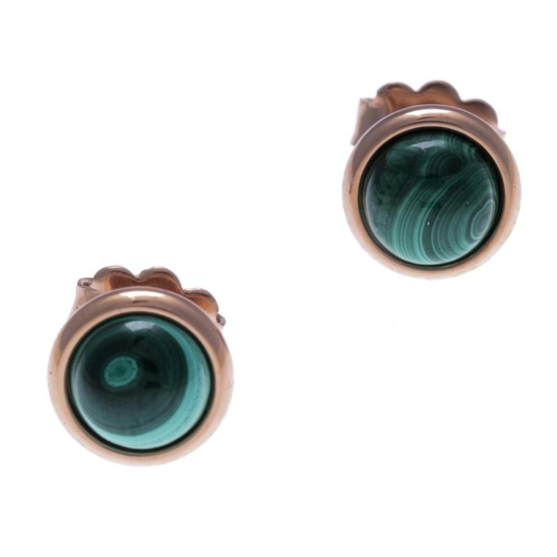 Boucles d'oreille cabochon, Malachite & acier rose