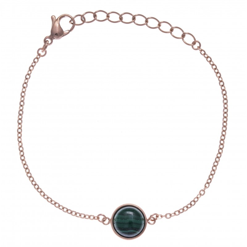 Bracelet cabochon acier rose femme, Malachite verte