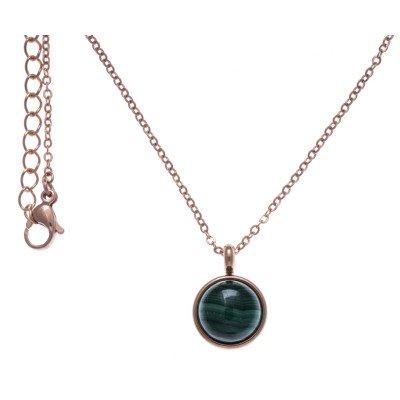 Collier cabochon femme en acier rose & Malachite verte - Lyn&Or Bijoux