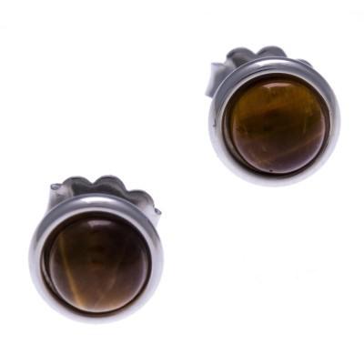 Boucles d'oreille femme, clou acier & cabochon oeil de tigre - Lyn&Or Bijoux