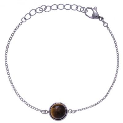 Bracelet cabochon acier femme, Oeil de tigre brun