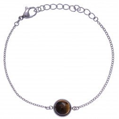 Bracelet femme en acier + cabochon Oeil du Tigre - Lyn&Or Bijoux