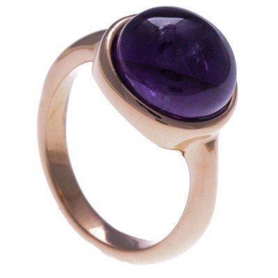 Bague femme en acier rose & cabochon en Améthyste violette - Lyn&Or Bijoux