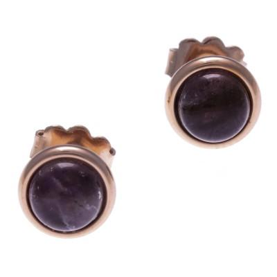 Boucles d'oreille femme, clou acier rose & cabochon Améthyste - Lyn&Or Bijoux
