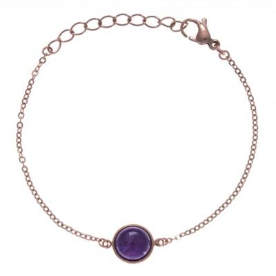 Bracelet cabochon acier rose femme, Améthyste violette