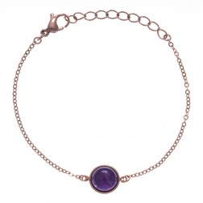 Bracelet femme en améthyste et acier rose - Lyn&Or Bijoux