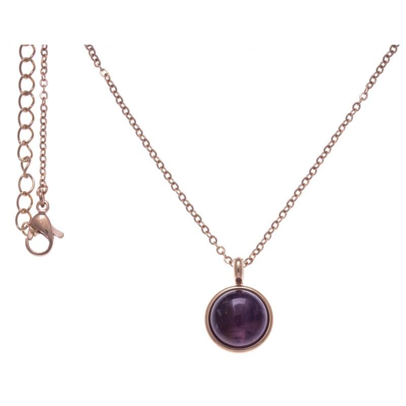 Collier cabochon acier rose femme, Améthyste violette