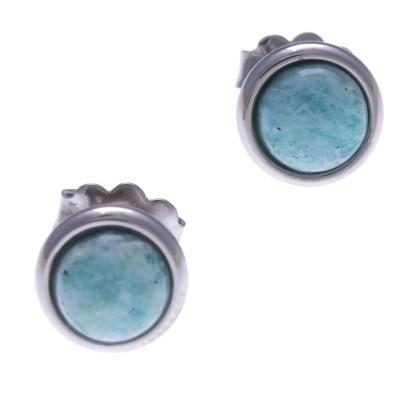 Boucles d'oreilles cabochon en pierre naturelle femme: Acier & Amazonite - Lyn&Or Bijoux