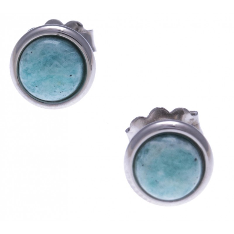 Boucles d'oreilles cabochon amazonite & acier femme