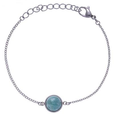Bracelet femme en acier + cabochon en Amazonite verte - Lyn&Or Bijoux