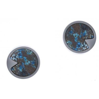 Boucles d'oreille femme en pierre naturelle: Acier & Chrysocolle bleue - Lyn&Or Bijoux