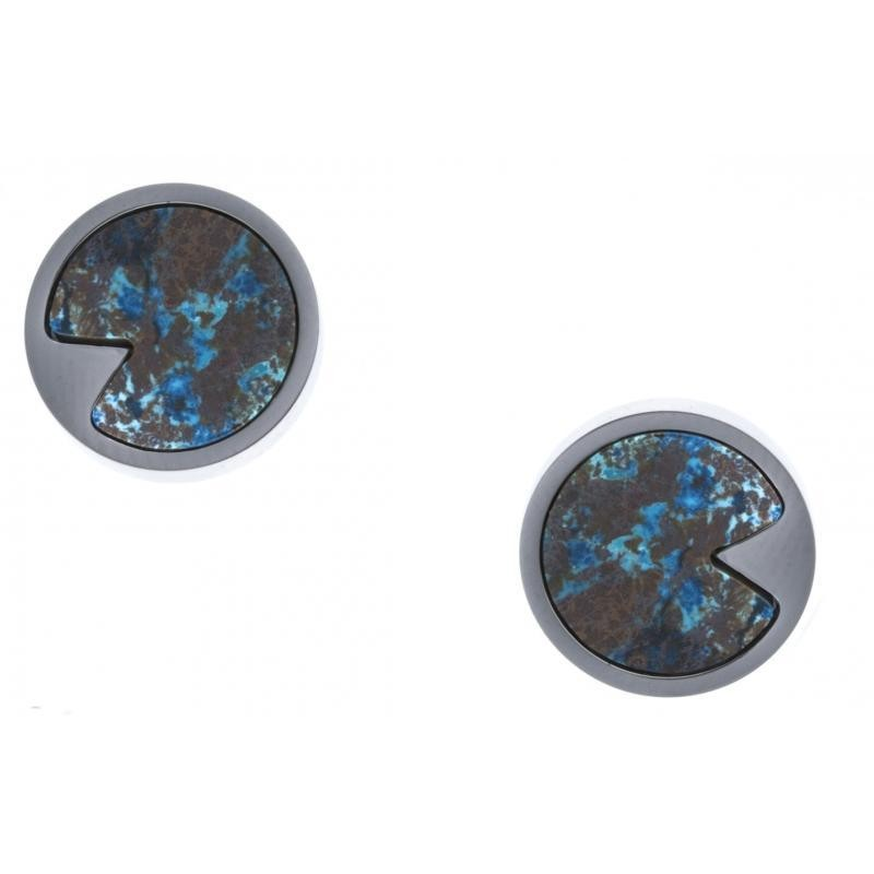 Boucles d'oreille Chrysocolle bleue et acier inoxydable pour femme