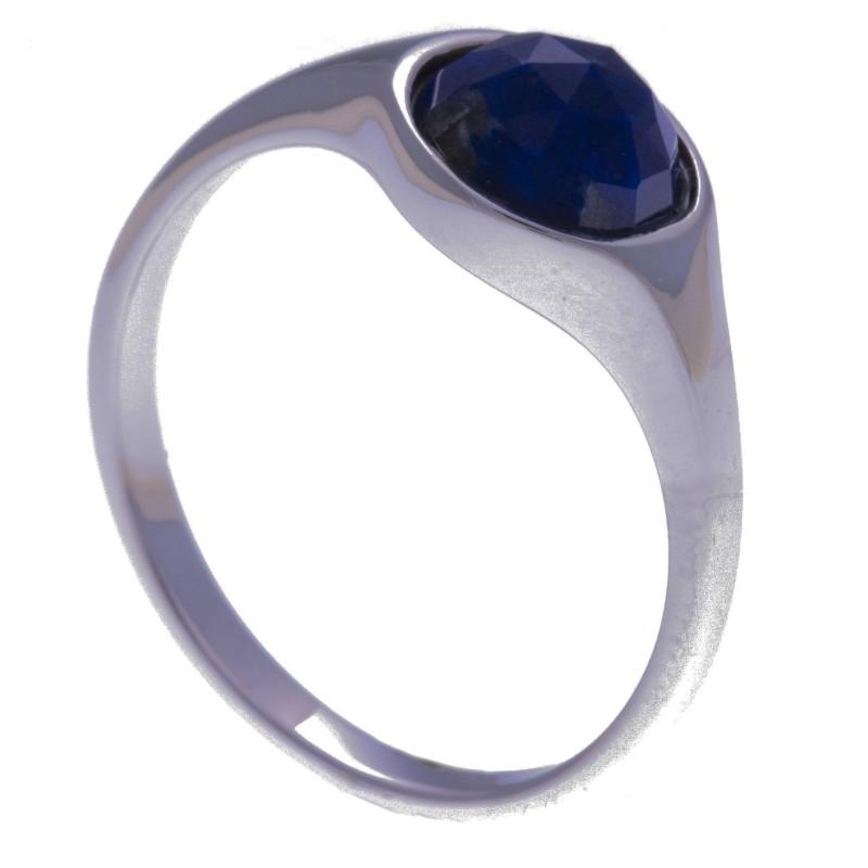 Bague en pierres naturelles pour femme, argent rhodié, lapis lazuli facettée