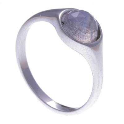 Bague en pierres naturelles pour femme, argent 925, pierre de lune facettée