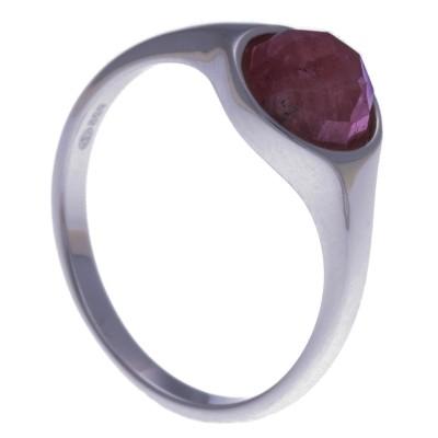 Bague en pierres naturelles pour femme, argent rhodié, rhodocrosite facettée