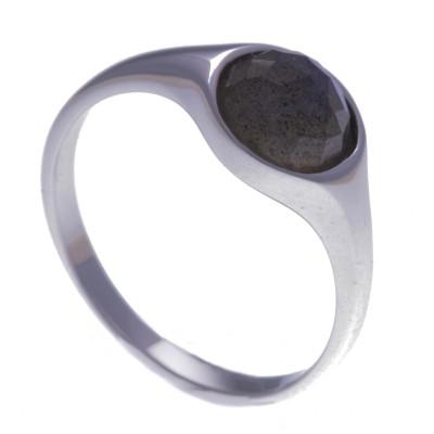Bague femme en pierre naturelle: Labradorite facettée & argent rhodié - Lyn&Or Bijoux