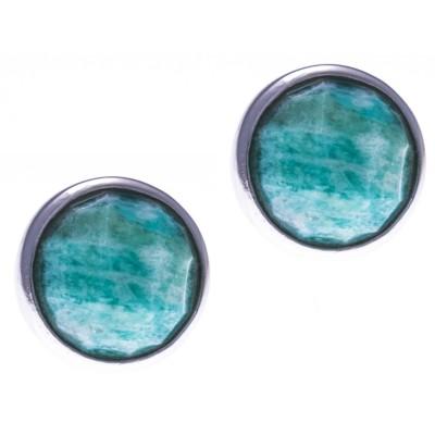 Boucles d'oreille en pierres naturelles pour femme, argent 925, amazonite verte