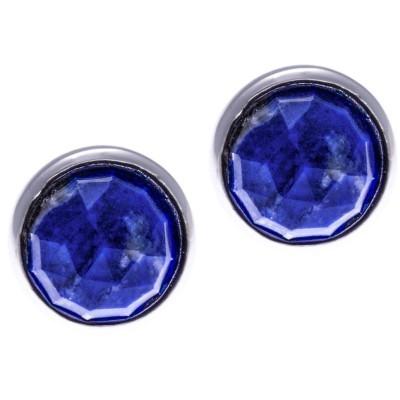 Boucles d'oreille femme en argent & lapis lazuli facetté - Lyn&Or Bijoux