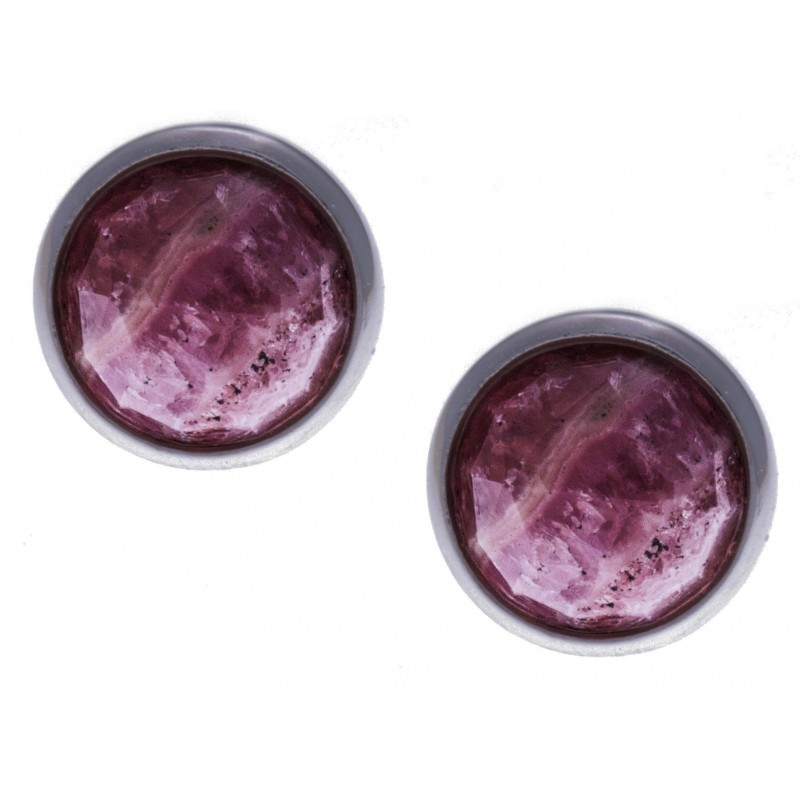 Boucles d'oreilles en pierres naturelles pour femme, argent rhodié, rhodocrosite