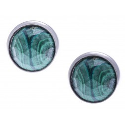 Boucles d'oreilles en pierres naturelles pour femme en argent rhodié, malachite