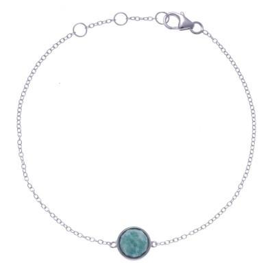 Bracelet en pierres naturelles pour femme, argent rhodié, amazonite facettée