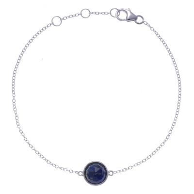 Bracelet pour femme en argent rhodié, lapis lazuli facettée - Lyn&Or Bijoux