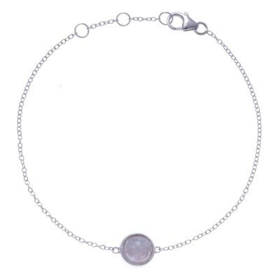 Bracelet en pierres naturelles pour femme, argent, pierre de lune facettée
