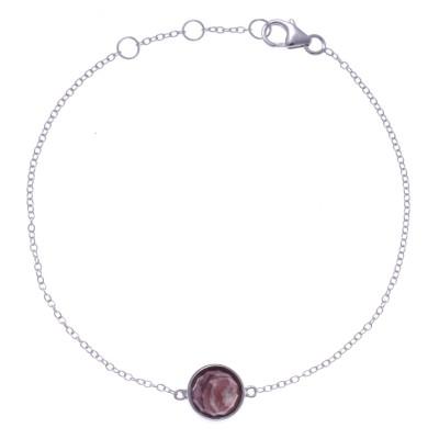 Bracelet en pierres naturelles pour femme, argent, rhodocrosite facettée