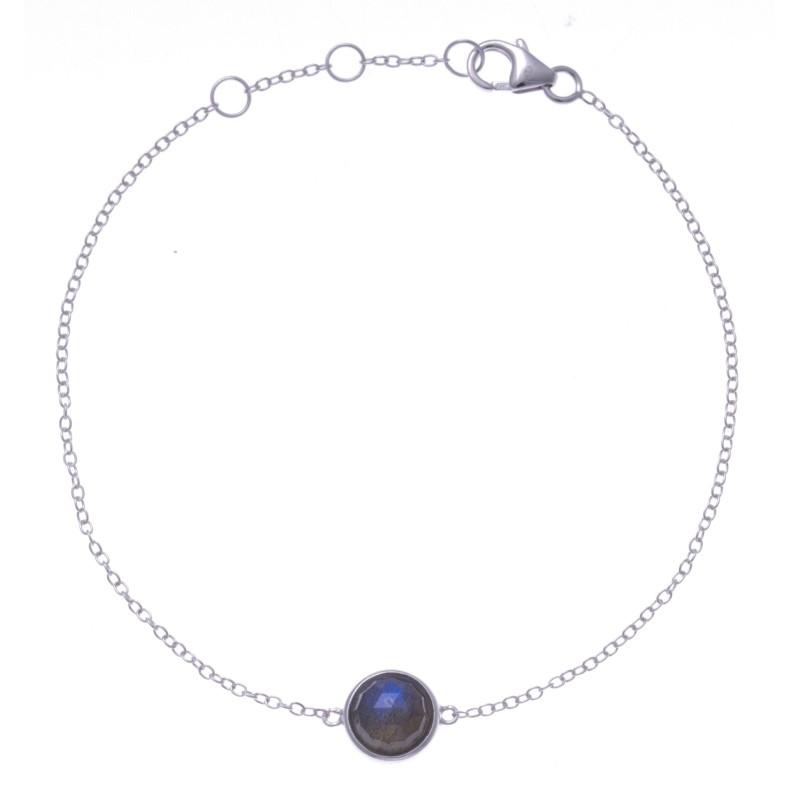 Bracelet en pierres naturelles pour femme, argent, labradorite facettée