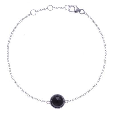 Bracelet pour femme en argent rhodié, onyx facettée - Lyn&Or Bijoux