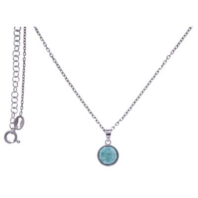 Collier en pierres naturelles pour femme, argent rhodié, amazonite facettée