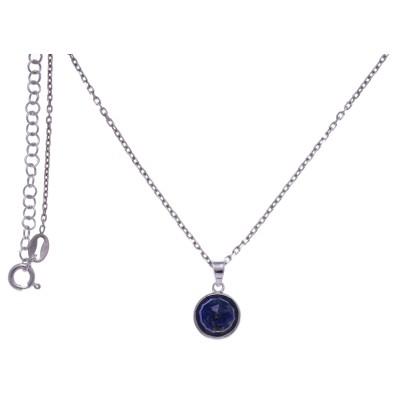 Collier pour femme en argent rhodié, lapis lazuli facettée - Lyn&Or Bijoux