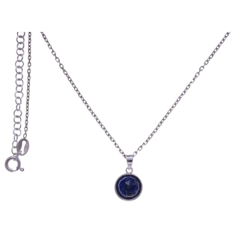 Collier en pierres naturelles pour femme, argent, lapis lazuli facettée