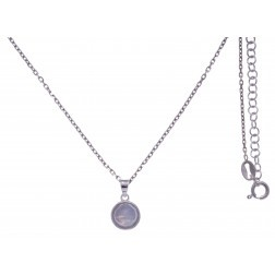 Collier pour femme en argent rhodié, pierre de lune facettée - Lyn&Or Bijoux