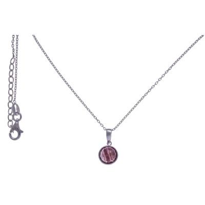 Collier pour femme en argent rhodié, rhodocrosite facettée - Lyn&Or Bijoux
